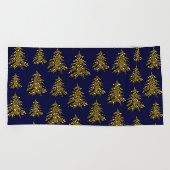 Sparkly gold Christmas tree on dark blue Beach Towel