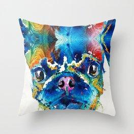Colorful Pug Art - Smug Pug - By Sharon Cummings Throw Pillow