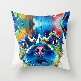Colorful Pug Art - Smug Pug - By Sharon Cummings Throw Pillow