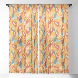 Orange Blue Yellow Abstract Autumn Leaves Pattern Sheer Curtain