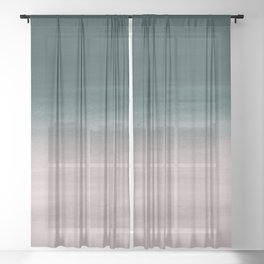Touching Teal Blush Watercolor Abstract #1 #painting #decor #art #society6 Sheer Curtain