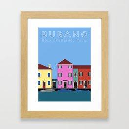 Isola di Burano, Italy Travel Poster Framed Art Print