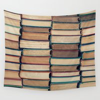 bookworm Wall Tapestries featuring Bookworm by Laura Ruth