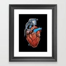 Heart Grenade Framed Art Print