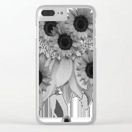 MODERN ABSTRACT BLACK & WHITE FLOWERS GARDEN  ART Clear iPhone Case