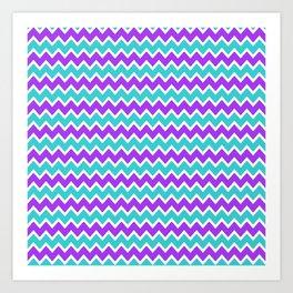 Teal and Purple Chevron Art Print
