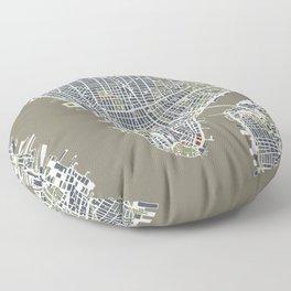 New York city map engraving Floor Pillow