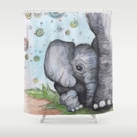 baby elephant Shower Curtains featuring Baby Elephant by Retta Ritchie-Holbrook