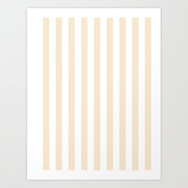 Narrow Vertical Stripes - White and Champagne Orange Art Print