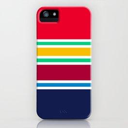 PreppyPatterns™ - Nautical Multi-stripe - cherry red, emerald green, gold, ruby, azure blue, navy iPhone Case