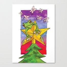 Christmas Star Frog Canvas Print