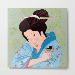 Mrs Hokusai Tries Vegetable Spread Metal Print