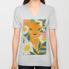 Mother Lion and Cub I Unisex V-Neck