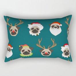 Christmas Pug Pattern Rectangular Pillow