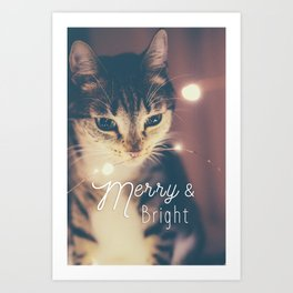 Merry and bright, cute cat and fairy lights Art Print