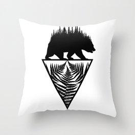 Fern and Bear Throw Pillow