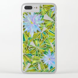Water Lilies – Lavender & Green Palette Clear iPhone Case