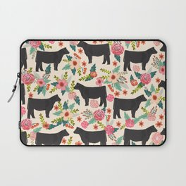 Show Steer cattle breed floral animal cow pattern cows florals farm gifts Laptop Sleeve