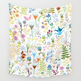 seamless pattern with bright multi-colored decorative flowers on a white background Wall Tapestry