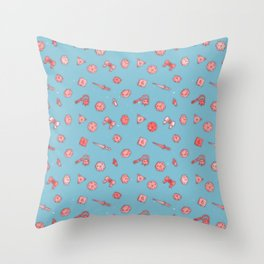 Dice and Daggers: Pink and blue Throw Pillow