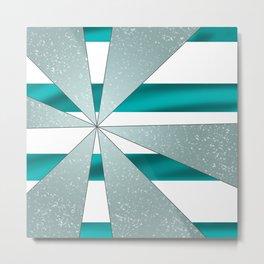 4Shades Glass: Blue White Metal Print