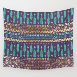 Gold Teal and Purple Arrows Tribal Aztec Pattern Wall Tapestry
