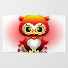 Baby Owl Love Heart Cartoon  Rug