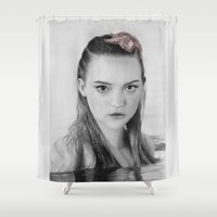 gemma Shower Curtains featuring Gemma Ward Mermaid (Pencil Art) Tamara by Aeriz85