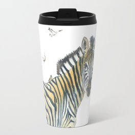 Zebra and Birds Travel Mug