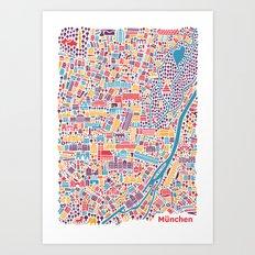 Munich City Map Poster Art Print