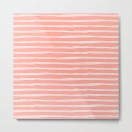 Rose Pink Stripes Pattern Metal Print