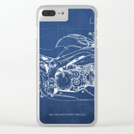 Motorcycle blueprint, white and blue art Clear iPhone Case
