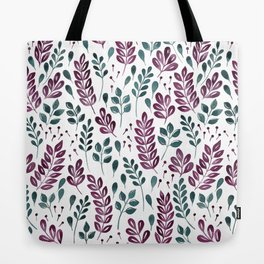 Wistful Floral - Burgundy and Green Tote Bag