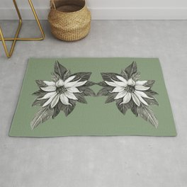 Florida Flower with Green Background Rug