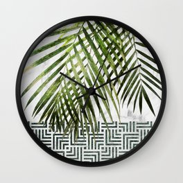 Palm Leaves on White Marble and Tiles Wall Clock