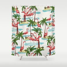 Trump Flamingo Pattern Shower Curtain