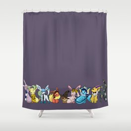 Eeveelutions Go To Hogwarts Shower Curtain