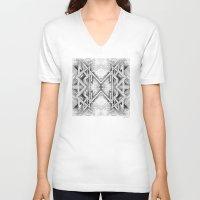 gray pattern V-neck T-shirts featuring Emerge - Gray/Black Pattern by MB4 Studio
