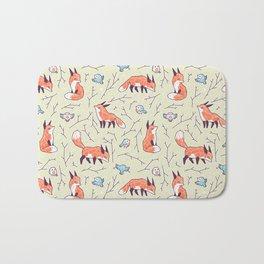 Fox and Bird Pattern Bath Mat