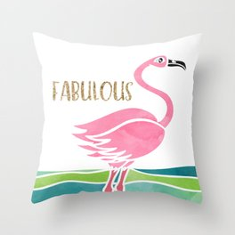 Sparkly Fabulous Watercolor Pink Flamingo Throw Pillow