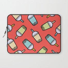 Bubble Tea Pattern in Red Laptop Sleeve