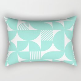 Seafoam Mid Century Bauhaus Semi Circle Pattern Rectangular Pillow