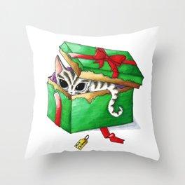 Kitten present box Throw Pillow