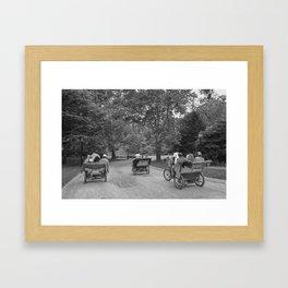 Strolling in Central Park B&W photo Framed Art Print
