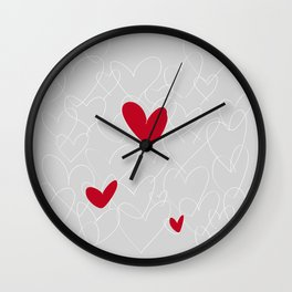 wild hearts grey Wall Clock