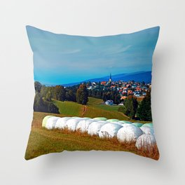 Hay bales, clouds and some scenery Throw Pillow