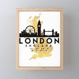 LONDON ENGLAND SILHOUETTE SKYLINE MAP ART Framed Mini Art Print