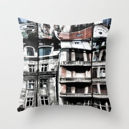 Reflection of Buildings on Buldings in Belgrade Throw Pillow