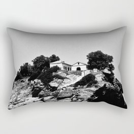 Church on a Hill (Black & White) Rectangular Pillow