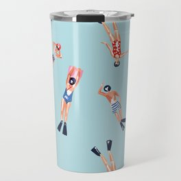 swimmers with fins pattern Travel Mug